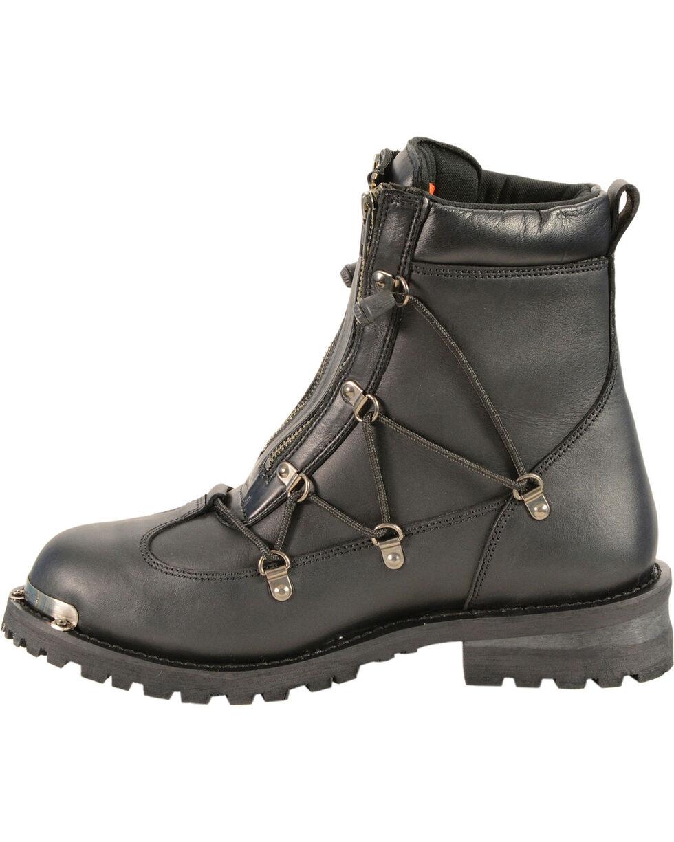 Milwaukee Leather Men's Twin Zipper Cap Toe Boots - Round Toe, Black, hi-res