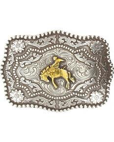 Cody James® Men's Bucking Bronc Rectangle Belt Buckle, Silver, hi-res