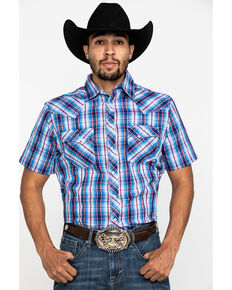 Wrangler Men's Black Small Plaid Fashion Snap Short Sleeve Western Shirt , Black, hi-res