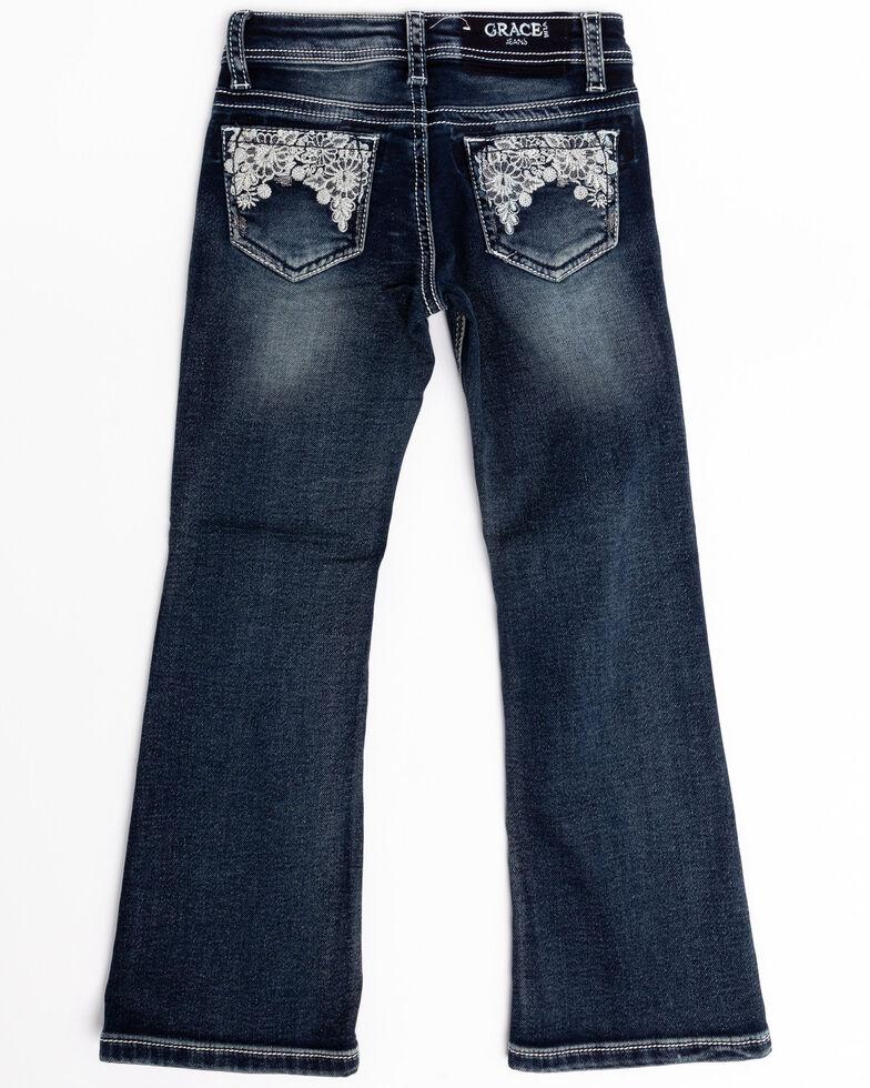 Grace in LA Toddler Girls' Medium Floral Lace Bootcut Jeans, Blue, hi-res