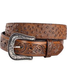 Cody James Men's Ostrich Print Tooled Leather Western Belt, Brown, hi-res