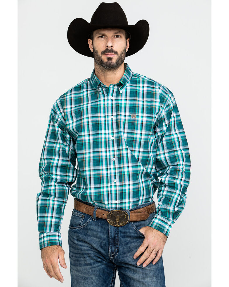 Cinch Men's Green Med Plaid Button Long Sleeve Western Shirt - Big , Green, hi-res