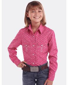 Panhandle Girls' White Label Arrow Print Long Sleeve Western Shirt , Pink, hi-res