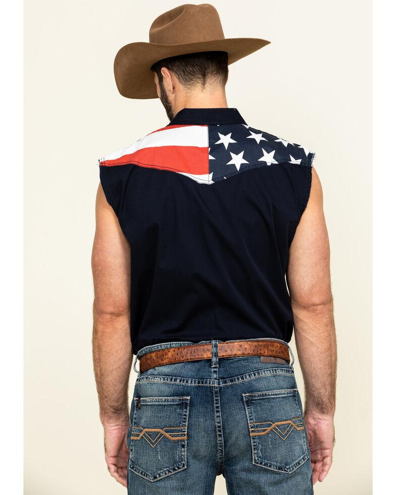 Cody James Men's American Flag Bubba Sleeveless Western Shirt , Red, hi-res