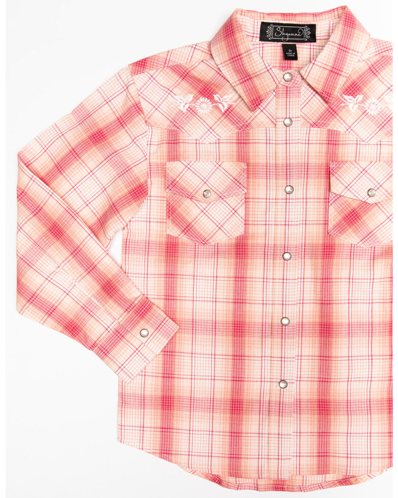 Shyanne Girls' Plaid Embroidered Long Sleeve Western Shirt, Pink, hi-res
