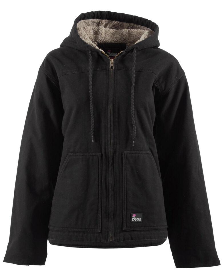 Berne Women's Washed Sherpa-Lined Hooded Coat - 3X & 4X, Black, hi-res