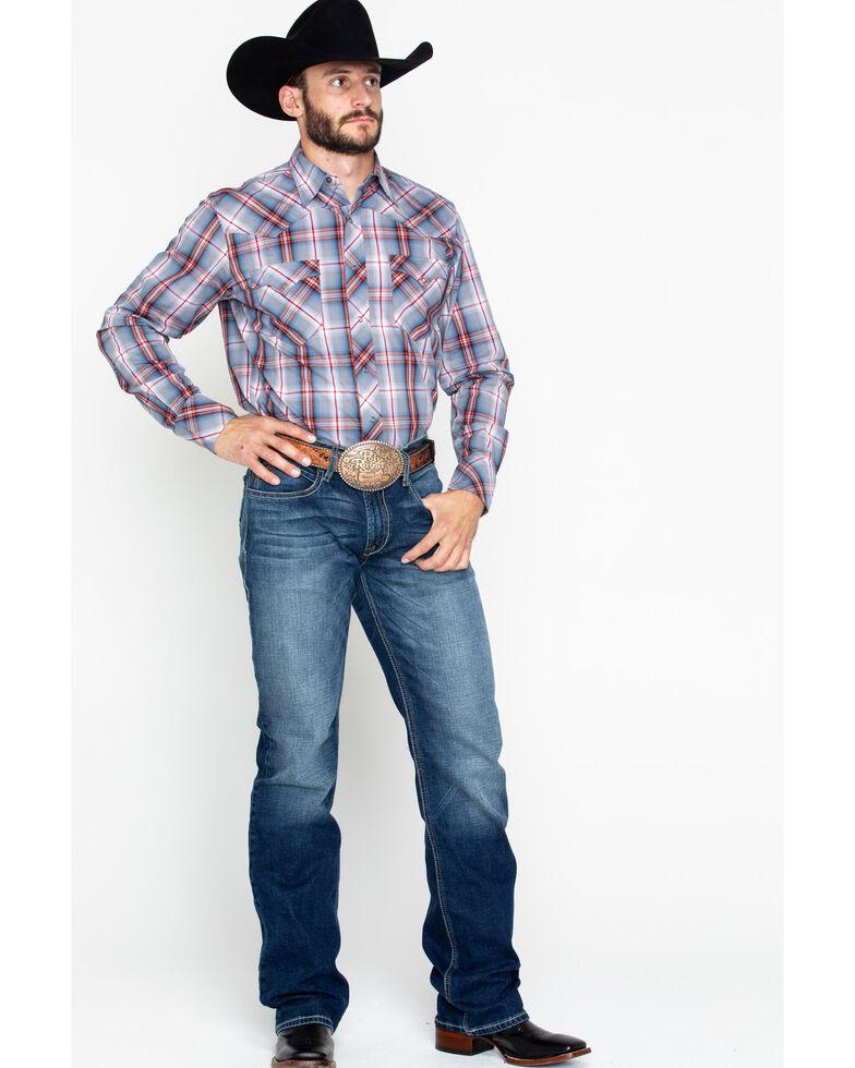 Roper Men's Large Dobby Plaid Snap Long Sleeve Shirt , Grey, hi-res