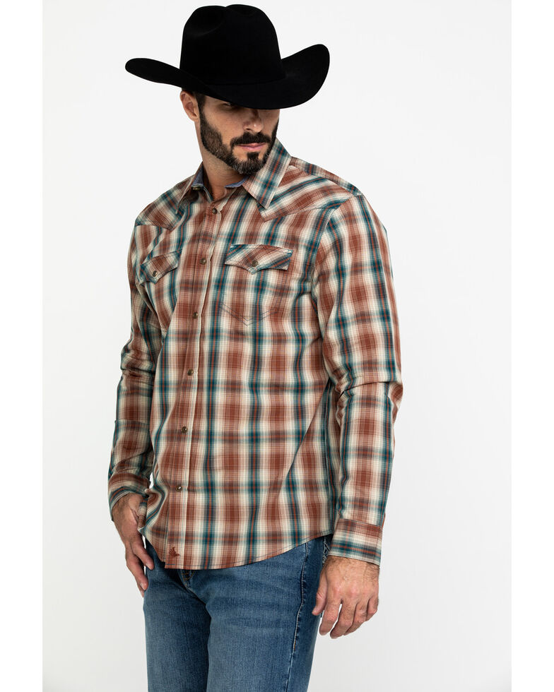 Cody James Men's Honky Tonk Plaid Long Sleeve Western Shirt , Brown, hi-res