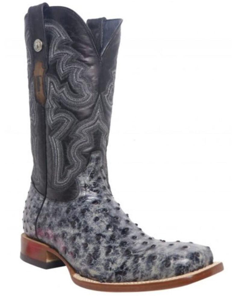 Tanner Mark Men's Ostrich Print Western Boots - Wide Square Toe, Black, hi-res