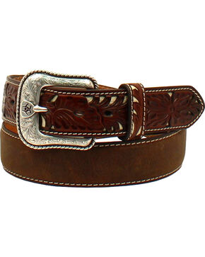Ariat Men's Pierce Tab Underlay Western Belt , Medium Brown, hi-res