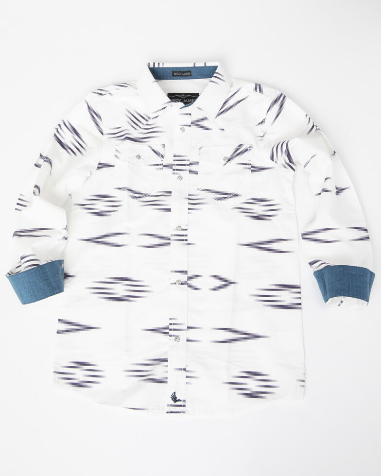 Cody James Boys' Calzona Print V-Yoke Long Sleeve Shirt , White, hi-res