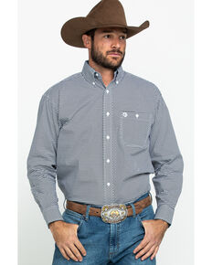 George Strait by Wrangler Men's Mini Arrow Geo Print Long Sleeve Western Shirt , Black, hi-res