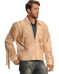 Liberty Wear Men's Cream Bone Fringed Leather Jacket - Big, Cream, hi-res