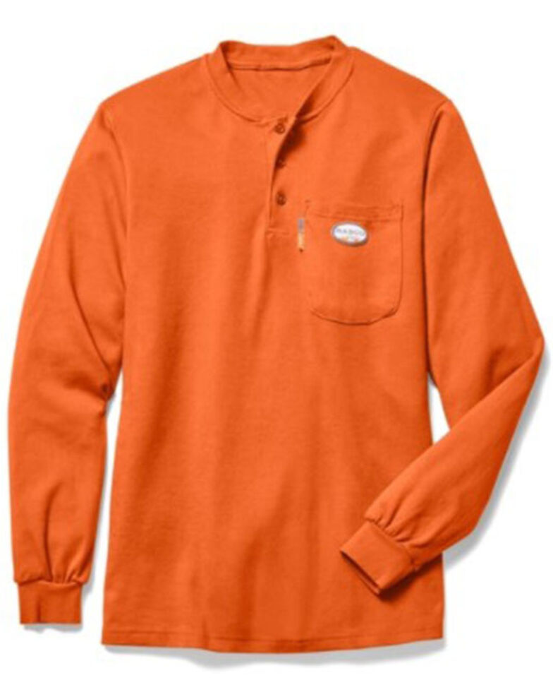 Rasco Men's Solid Orange Pocket Long Sleeve Work Henley Shirt, Orange, hi-res