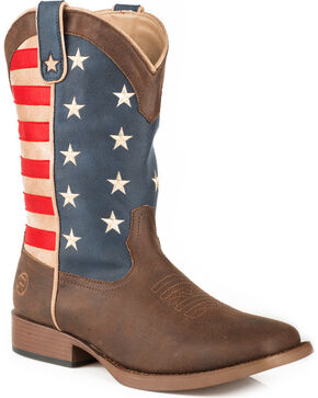 Roper Boys' Brown American Patriot Boots - Square Toe , Brown, hi-res