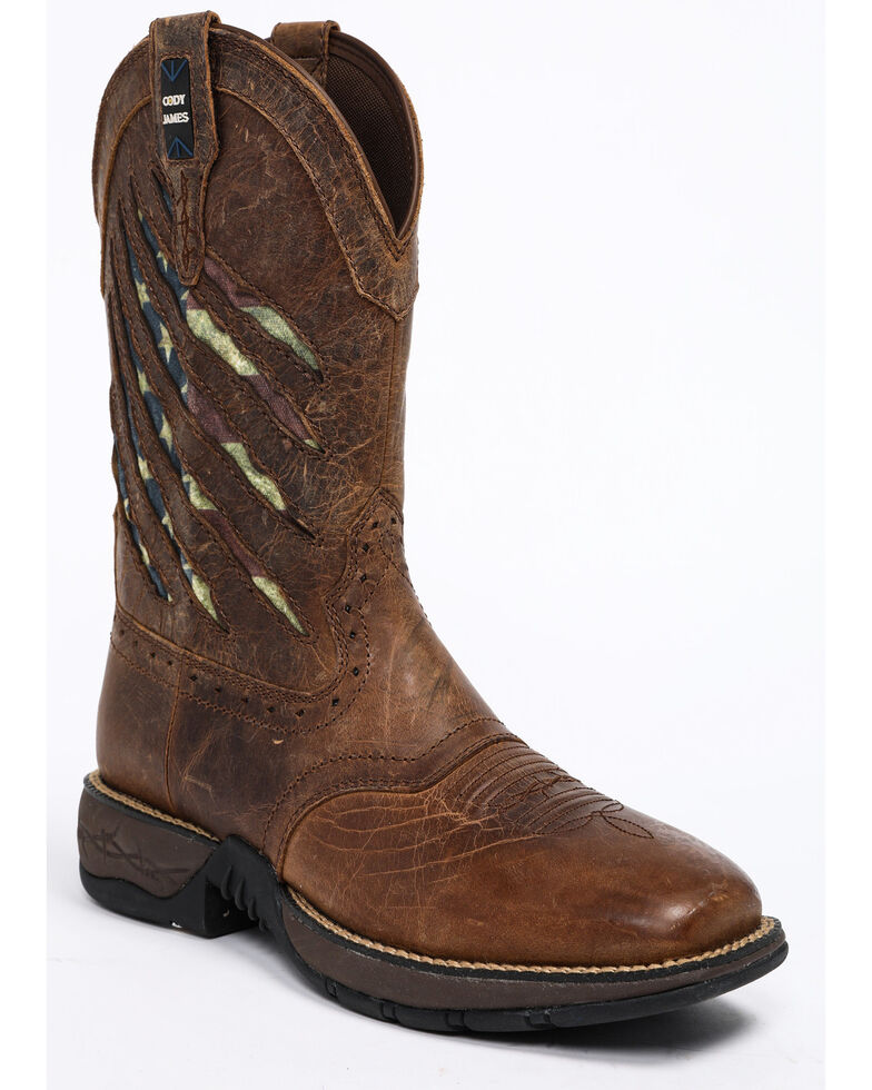 Cody James Men's Xero Gravity Patriotic Western Boots - Square Toe, Brown, hi-res
