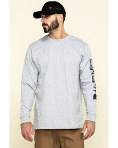 Carhartt Men's Signature Logo Long Sleeve Knit Work T-Shirt , Hthr Grey, hi-res