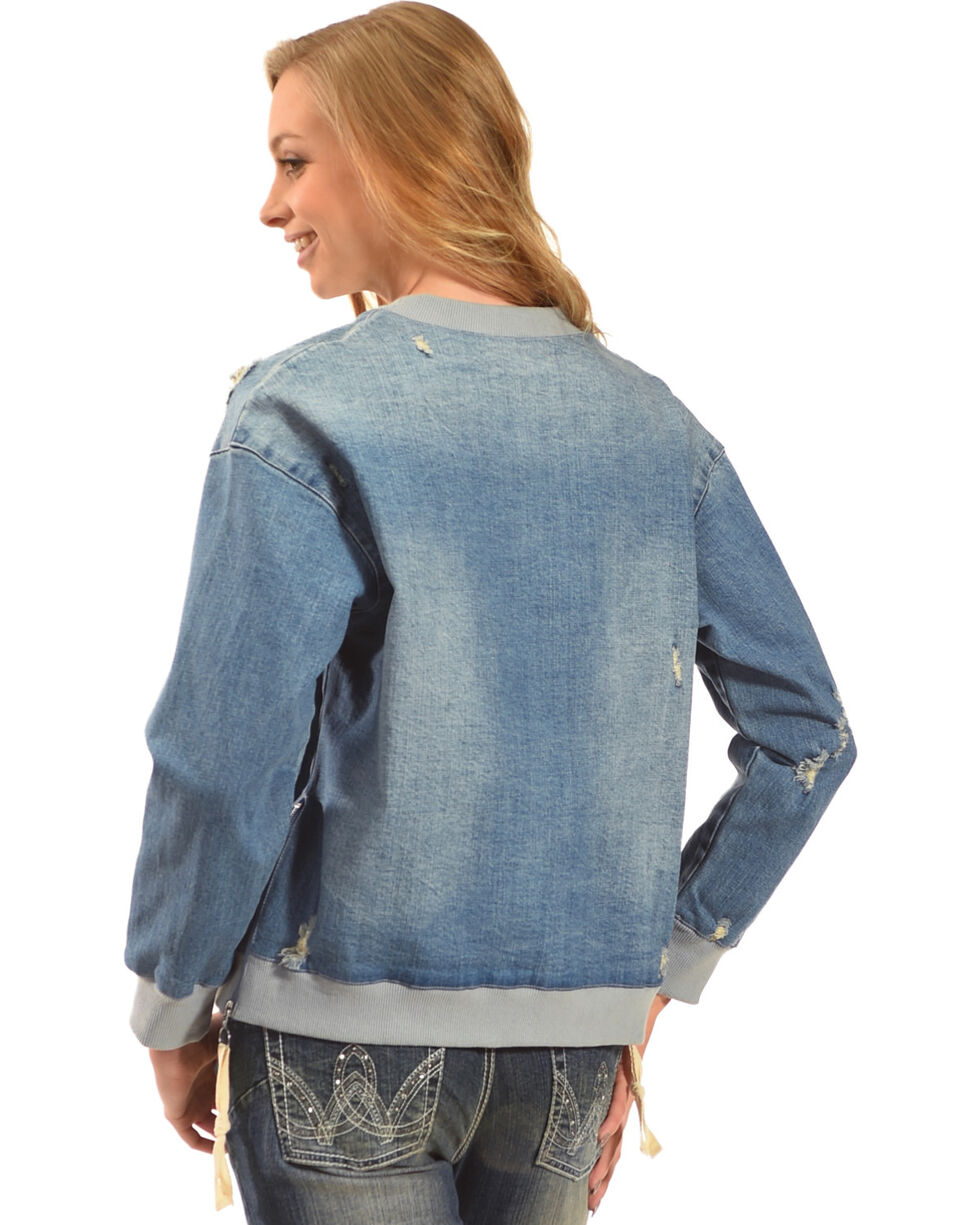 MI. OH. MI. Women's Destruction Denim Sweatshirt, Indigo, hi-res