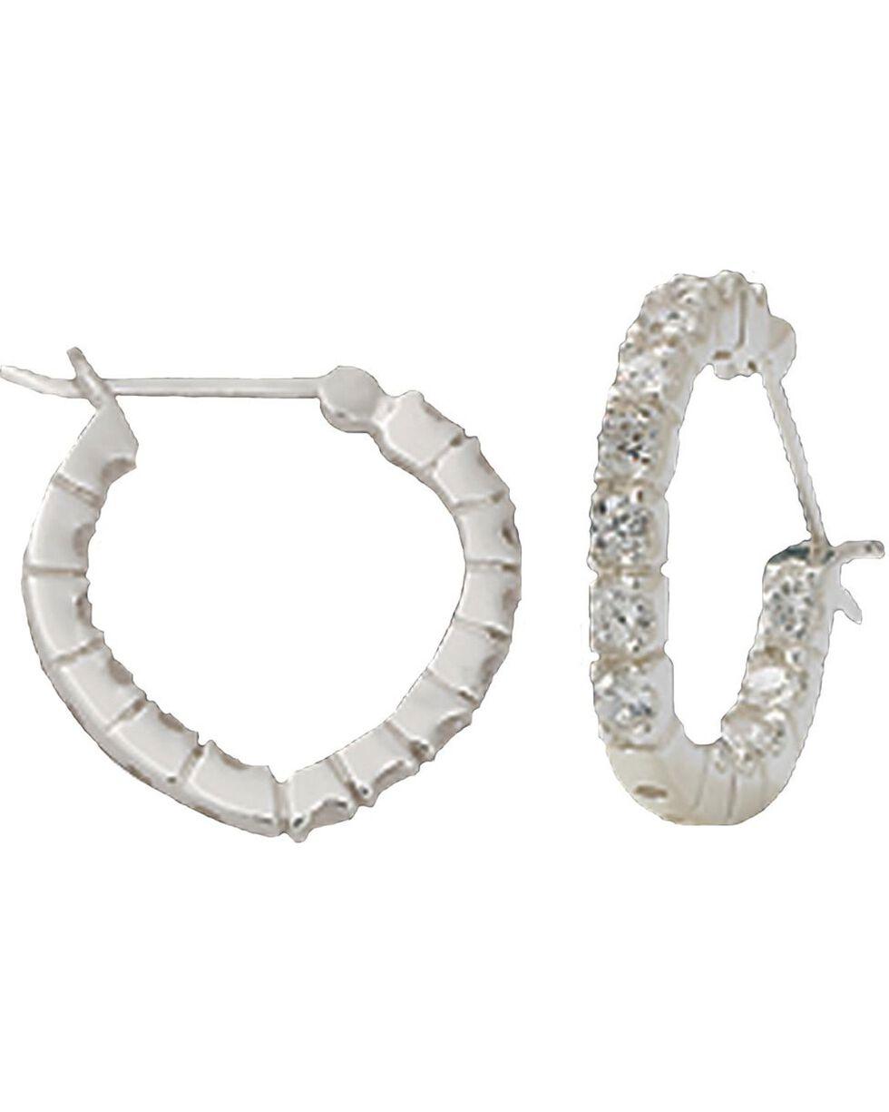 Montana Silversmiths Women's Heart Hoop Crystal Earrings, Silver, hi-res