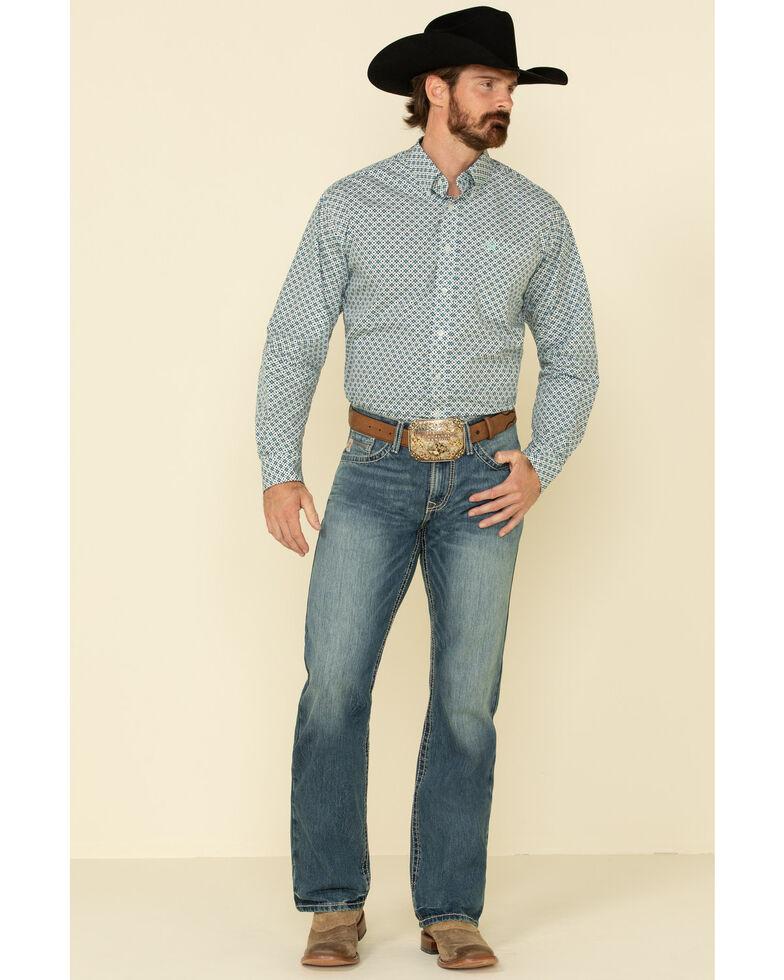 Cinch Men's Grey Diamond Geo Print Button Long Sleeve Western Shirt , , hi-res
