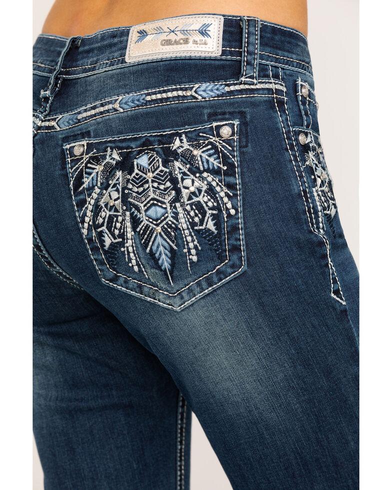"Grace in LA Women's Dark Aztec 32"" Bootcut Jeans , Blue, hi-res"