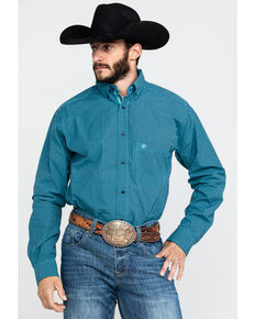 Ariat Men's Theo Small Plaid Long Sleeve Western Shirt , Blue, hi-res
