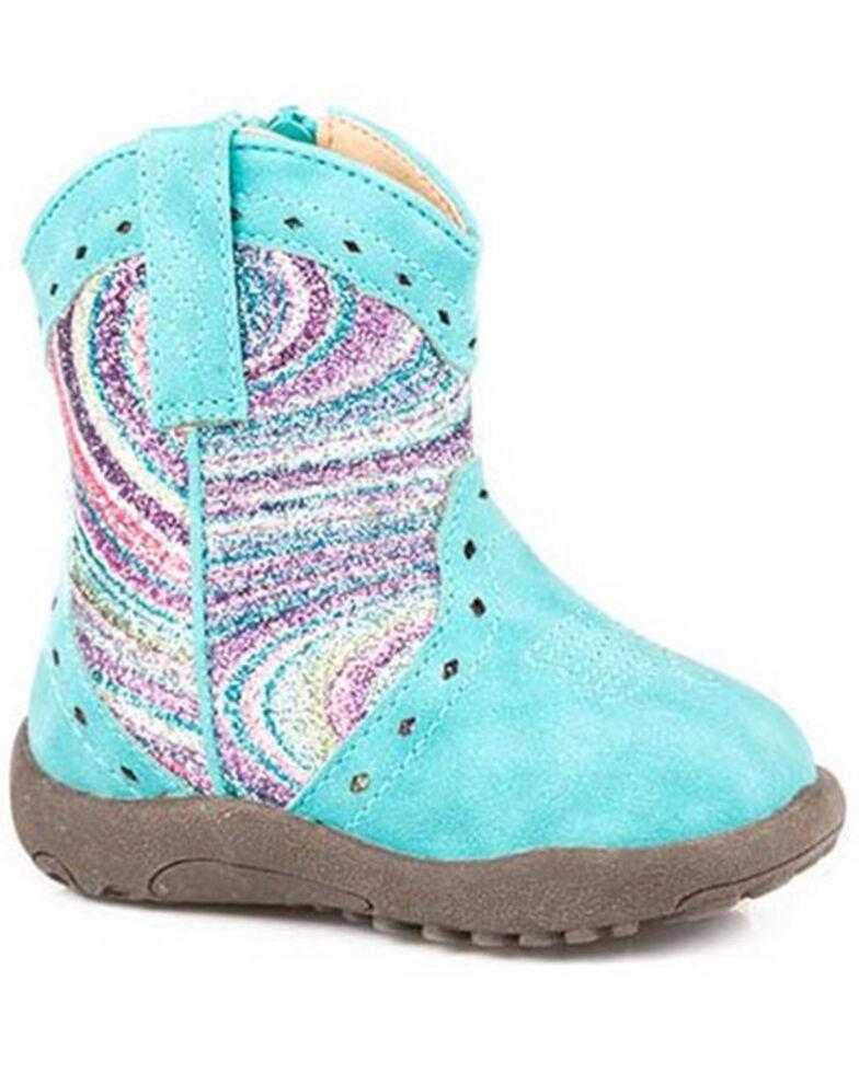 Roper Infant Girls' Glitter Swirl Poppet Boots - Round Toe, Blue, hi-res