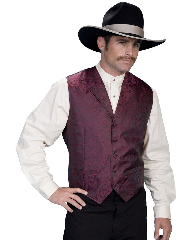 Rangewear by Scully Black Paisley Button Vest, Burgundy, hi-res