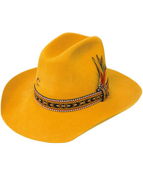 Charlie 1 Horse Women's 5X Saddle Tamp Hat, Yellow, hi-res