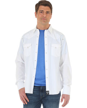Wrangler Rock 47 Men's White Embroidered Long Sleeve Snap Shirt - Big & Tall, White, hi-res