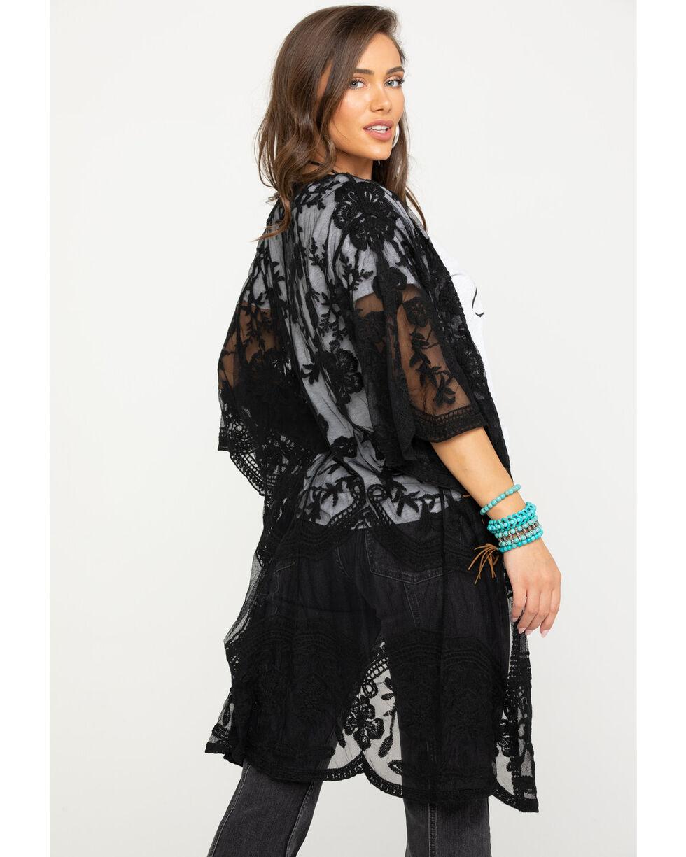 Polagram Women's Sheer Floral Embroidered Kimono, Black, hi-res