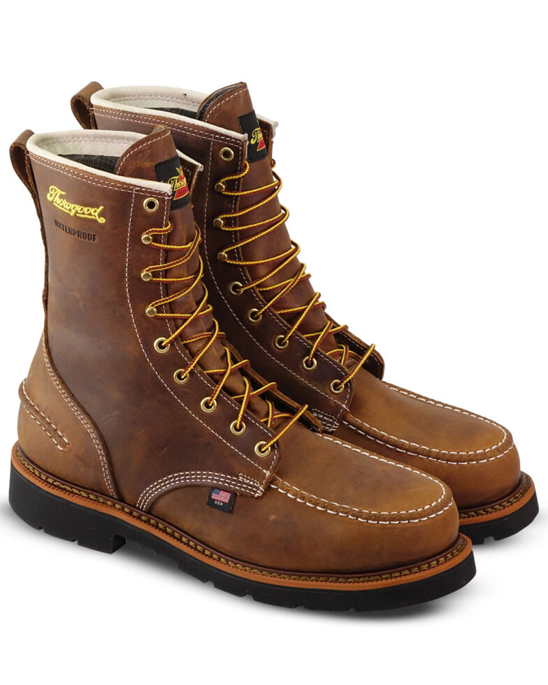 "Thorogood Men's 8"" Crazyhorse Waterproof Work Boots - Steel Toe, Brown, hi-res"
