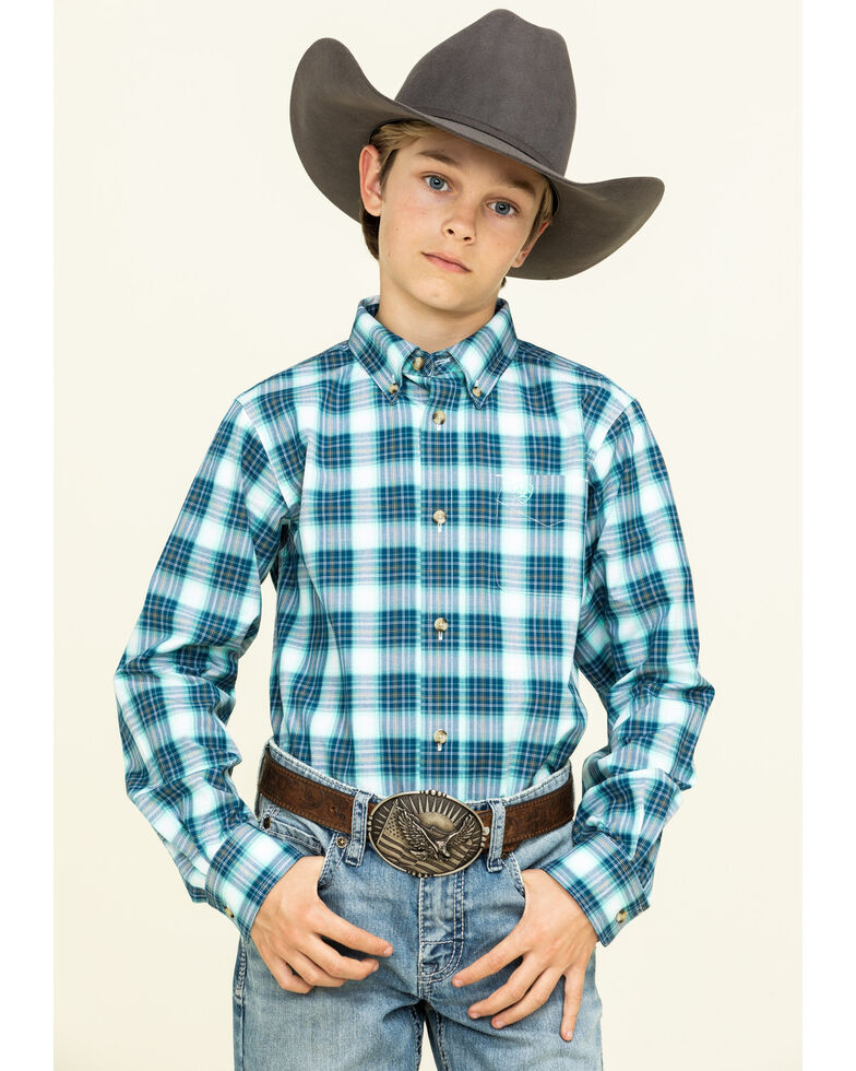 Ariat Boys' Roselle Multi Plaid Long Sleeve Western Shirt , Turquoise, hi-res
