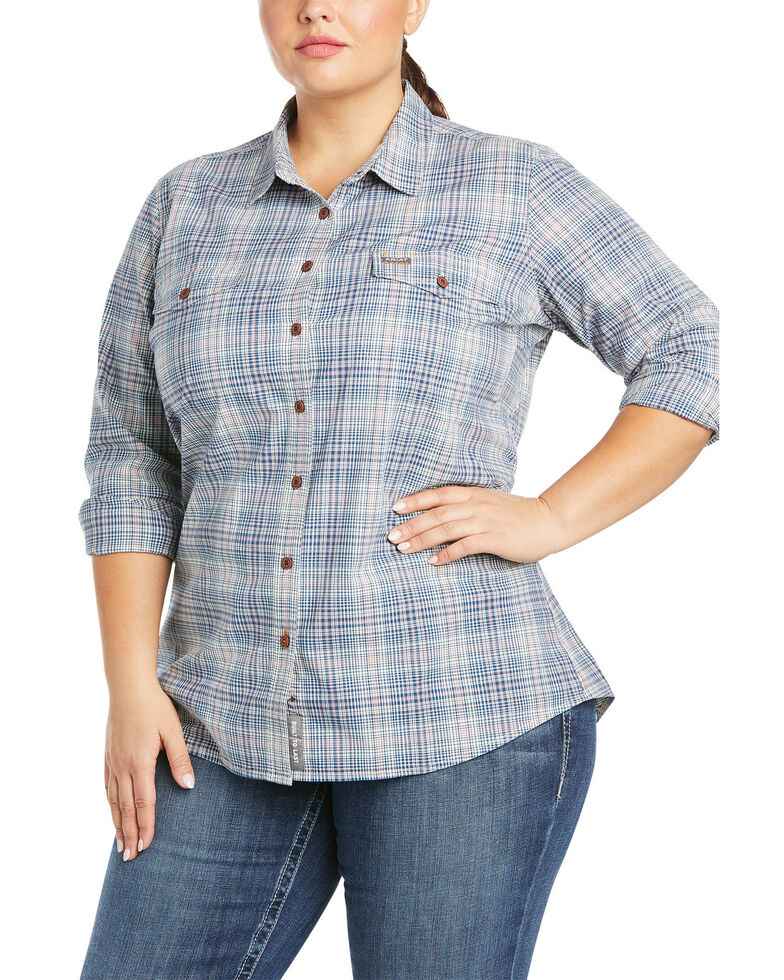 Ariat Women's Blue Plaid Rebar Made Tough DuraStretch Button-Down Work Shirt - Plus, Blue, hi-res