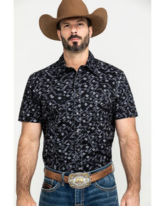 Rock & Roll Cowboy Men's Black Aztec Print Short Sleeve Western Shirt, Black, hi-res