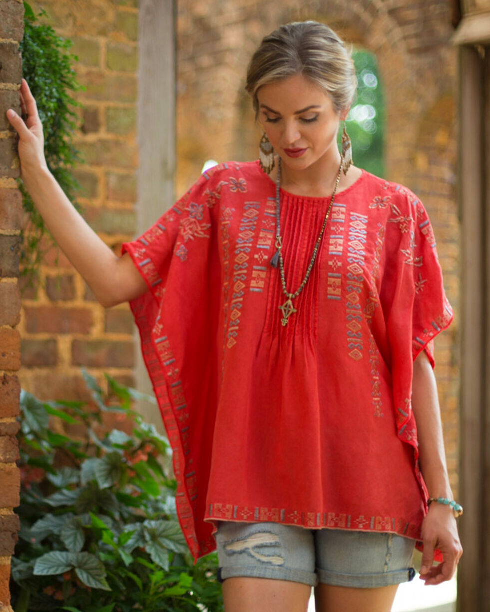 Ryan Michael Women's Embroidered Pintuck Poncho, Red, hi-res