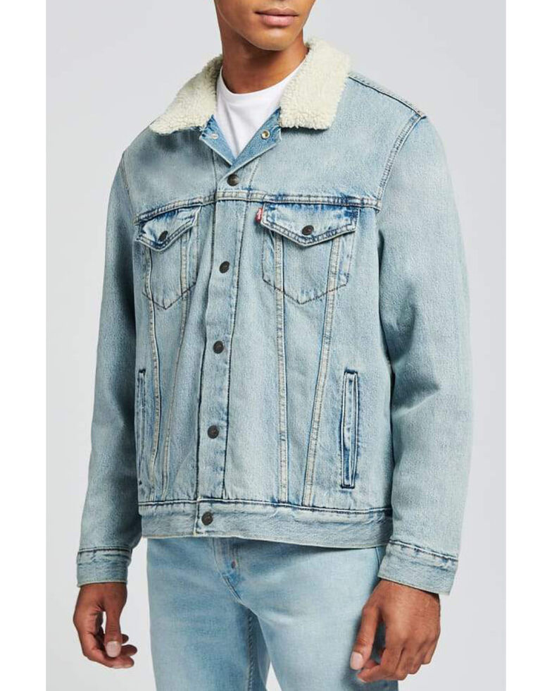Levi's Men's Changing Seasons Denim Sherpa Lined Trucker Jacket , Light Blue, hi-res