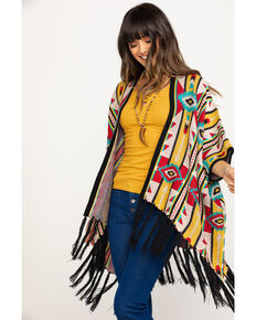 Rock & Roll Cowgirl Women's Aztec Fringe Poncho Cardigan , Multi, hi-res