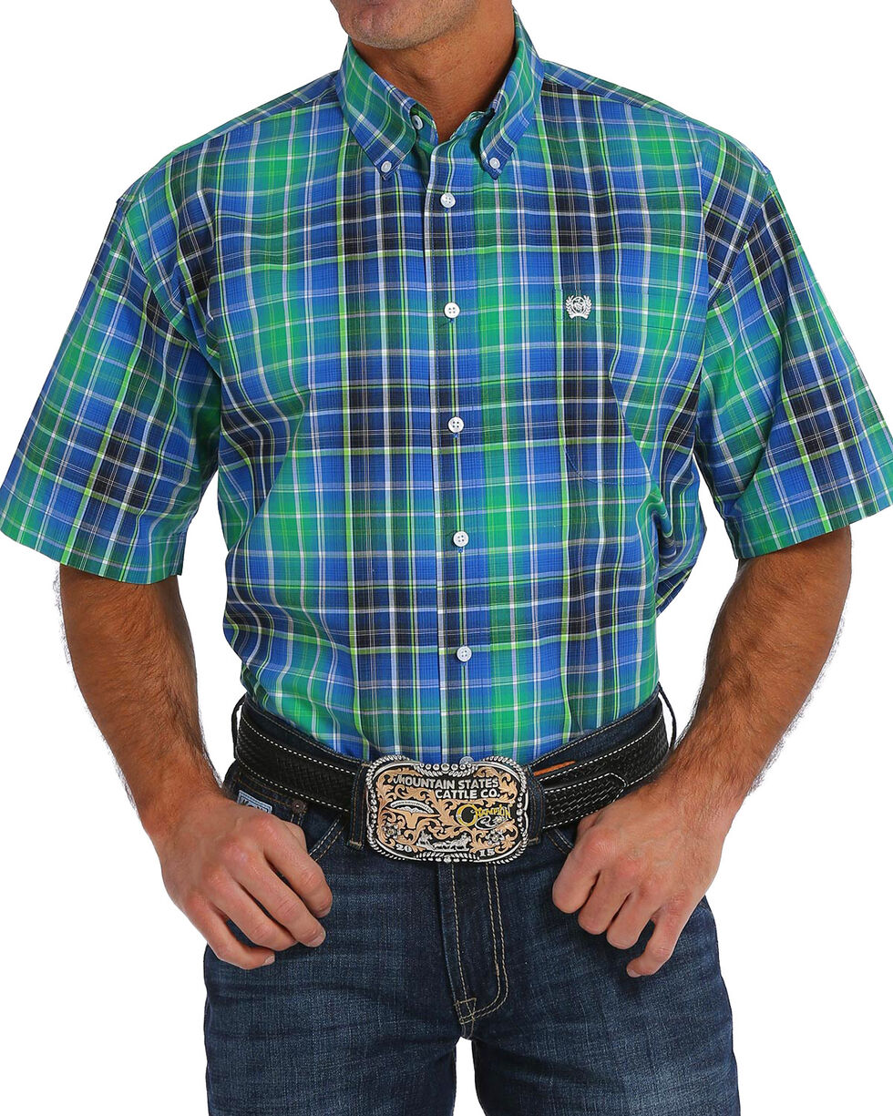 Cinch Men's Plain Weave Plaid Short Sleeve Button Down Shirt, Multi, hi-res