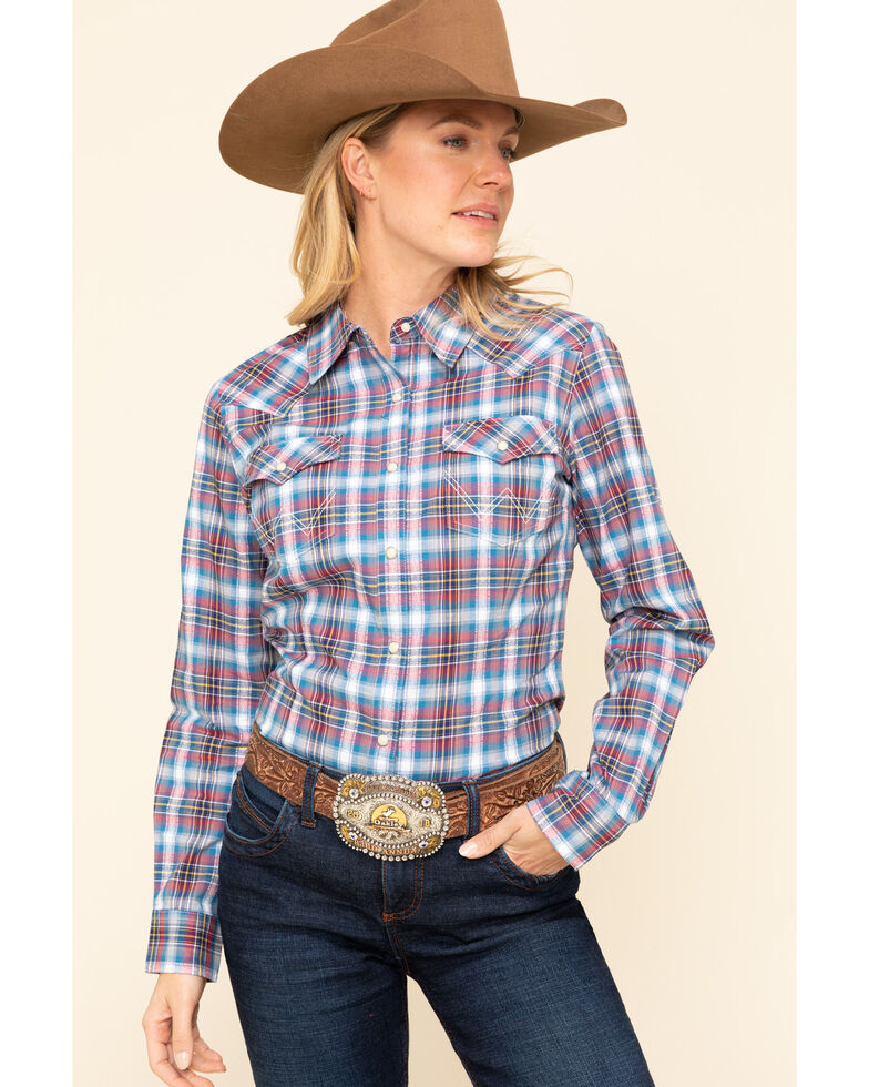 Wrangler Retro Women's Red & Blue Plaid Long Sleeve Western Shirt, Blue, hi-res