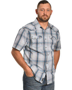 Moonshine Spirit Men's White Plaid Ghost Town Shirt , White, hi-res