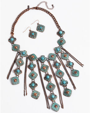 Shyanne Women's La Rosita Multi Chain Diamond Jewelry Set, Turquoise, hi-res