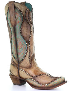 Corral Women's Wavy Embroidery Western Boots - Snip Toe, Sand, hi-res