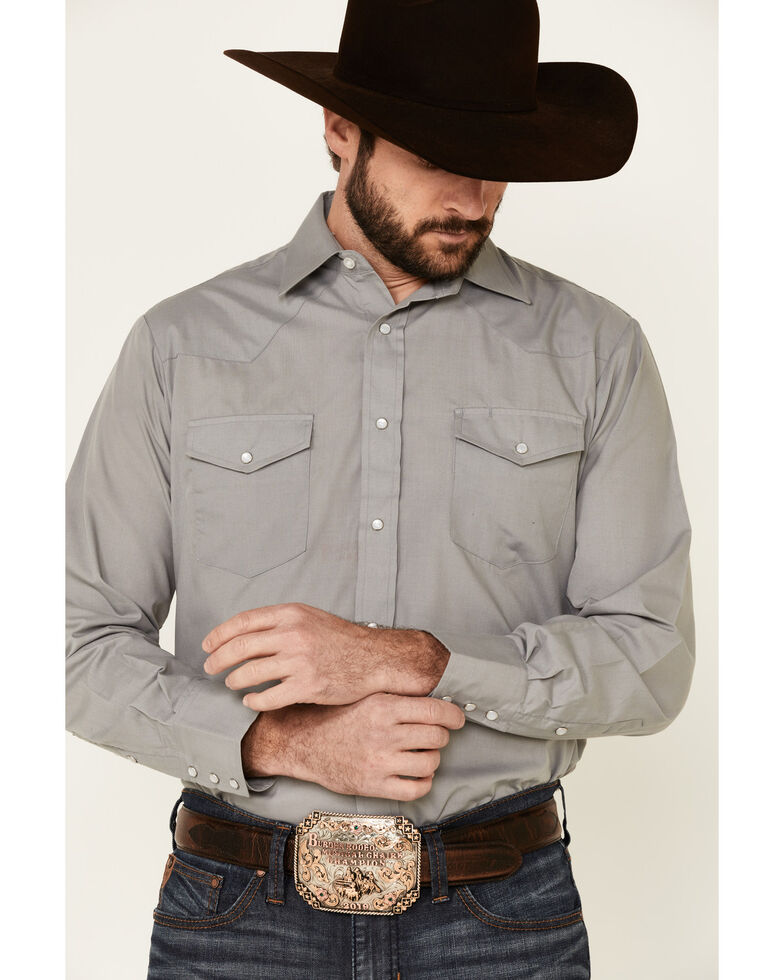 Roper Men's Solid Grey Long Sleeve Snap Western Shirt , Grey, hi-res