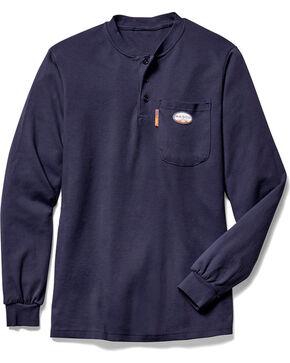 Rasco Men's Navy FR Henley T-Shirt , Navy, hi-res
