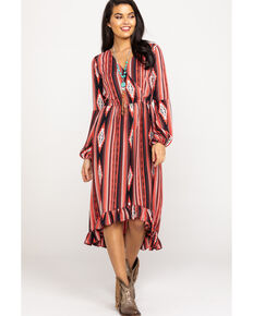 Rock & Roll Cowgirl Women's Faux Wrap Aztec Dress, Multi, hi-res