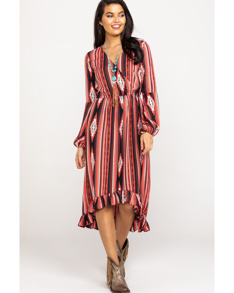 Rock & Roll Cowgirl Women's Faux Wrap Aztec Dress, Multi, hi-res