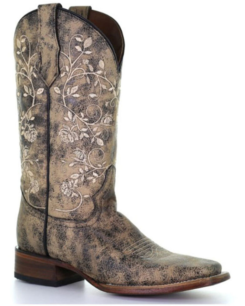 Circle G Women's Sand Floral Embroidery Western Boots - Square Toe, Black, hi-res