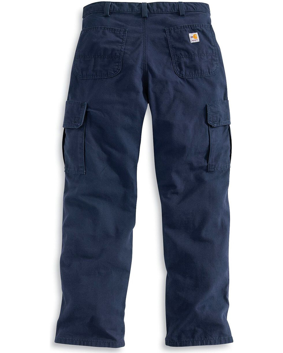 Carhartt Men's Flame-Resistant Canvas Cargo Pants, Navy, hi-res