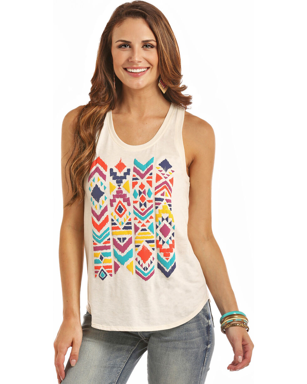 Rock & Roll Cowgirl Women's Natural Bohemian Puff Tank , Natural, hi-res